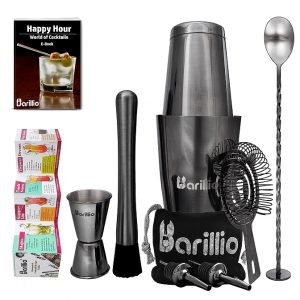 Barillio Elite Boston Cocktail Shaker Set (Black)