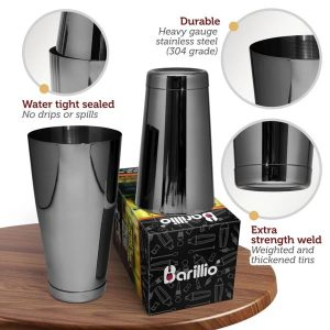 Barillio Elite Boston Cocktail Shaker (Black)
