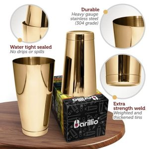 Barillio Elite Boston Cocktail Shaker (Gold)