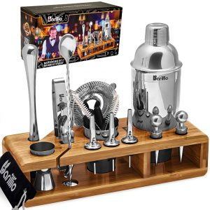 Barillio Elite 23-Piece Bartender Kit With Stand (Silver)