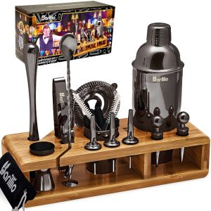 Barillio Elite 23-Piece Bartender Kit With Stand (Black)