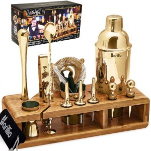 Barillio Elite 23-Piece Bartender Kit With Stand (Gold)