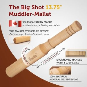 Barillio Hard Maple Muddler Mallet And Lewis Ice Bag Kit