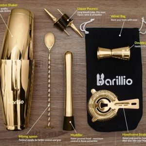 Barillio Elite Boston Cocktail Shaker Set (Gold)
