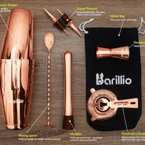 Barillio Elite Boston Cocktail Shaker Set (Rose-Copper)